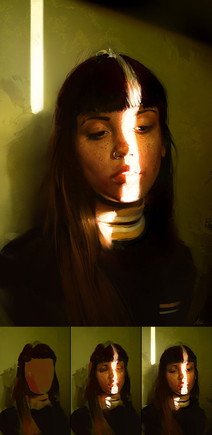 """""""Colour and Light Study"""" - Aaron Griffin {contemporary realism art female head shadow young woman face portrait digital painting with progression #loveart}"""