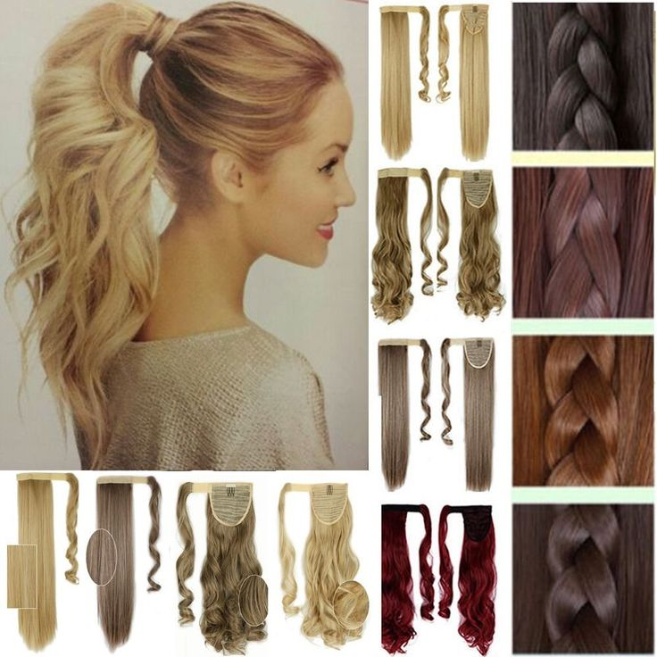 Clip In Ponytail Pony Tail Hair Extension Wrap On Hair Piece Wavy Straight CCM #FO #BingdingPonytail