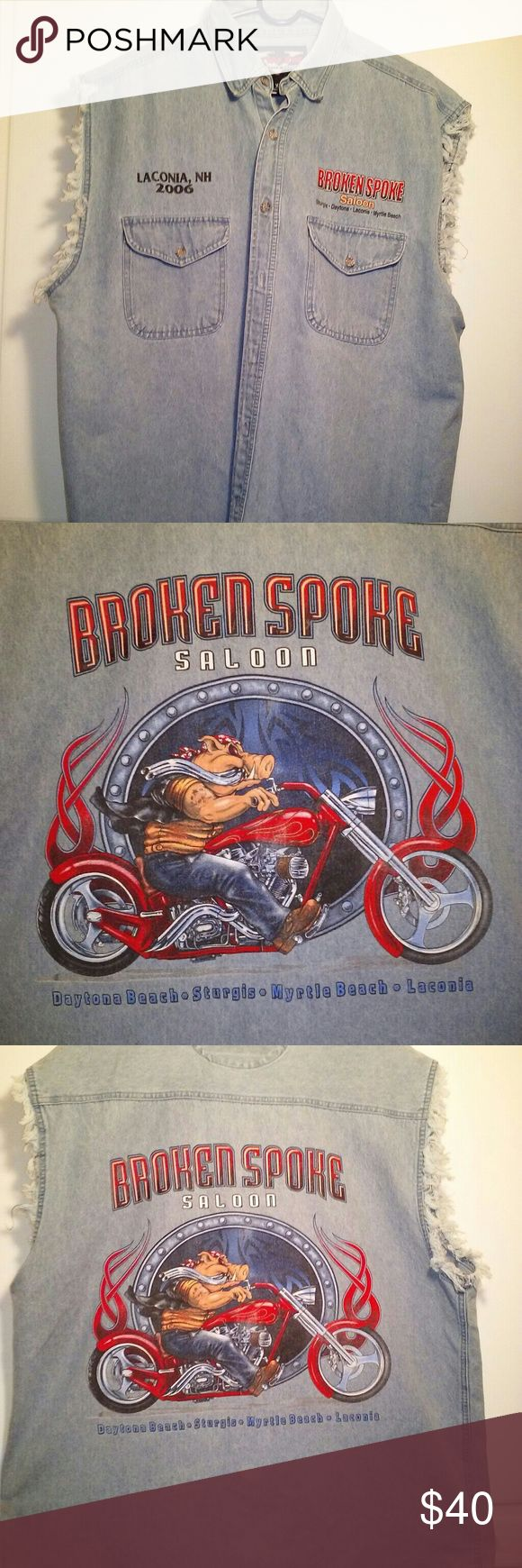 """🔥Twin V Motorcycle Apparel🔥 A """"Broken Spoke Saloon"""" Xl Mens Denim Vest!! Souvenir of Laconia NH-2006.🔥 All Twin V Buttons. Snap Collar. 2 Front Button Pockets. Front Neckline to Hem is 29"""". Arm holes are 11"""" laying Flat. Back Collar to Hem is 33"""". Awesome Condition!!🔥🔥Only Flaw Is Small Fade Spot On Back Of Shirt!( last pic) 🔥For The Motorcycle Enthusiast!!!🔥🔥🔥🔥 Twin V Motorcycle Apparel Jackets & Coats Vests"""