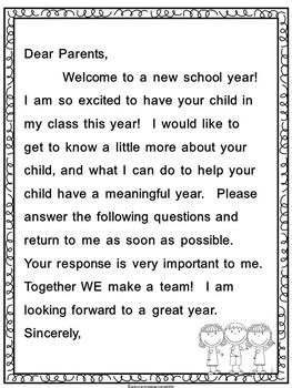 Welcome Back To School! This is a back to school letter for parents that includes a questionnaire to learn about your new students. I always keep the parent survey in my student files to refer back to throughout the year. Teachers may want to share the survey with team members.