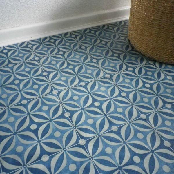 Cement Tile Design Cushioned Vinyl Flooring Sheet Azure Blue In 2020 Cushioned Vinyl Flooring Vinyl Flooring Flooring