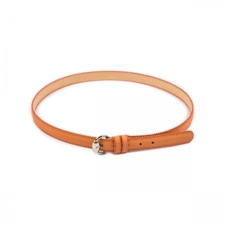 Belt Reptile print calfskin leather rubber effect with orange chain edging.