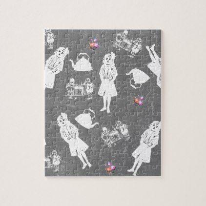 chalkboard kids jigsaw puzzle - kids kid child gift idea diy personalize design