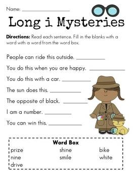 Long I Mysteries For I E Sound One Of Many Worksheets In 54 Page