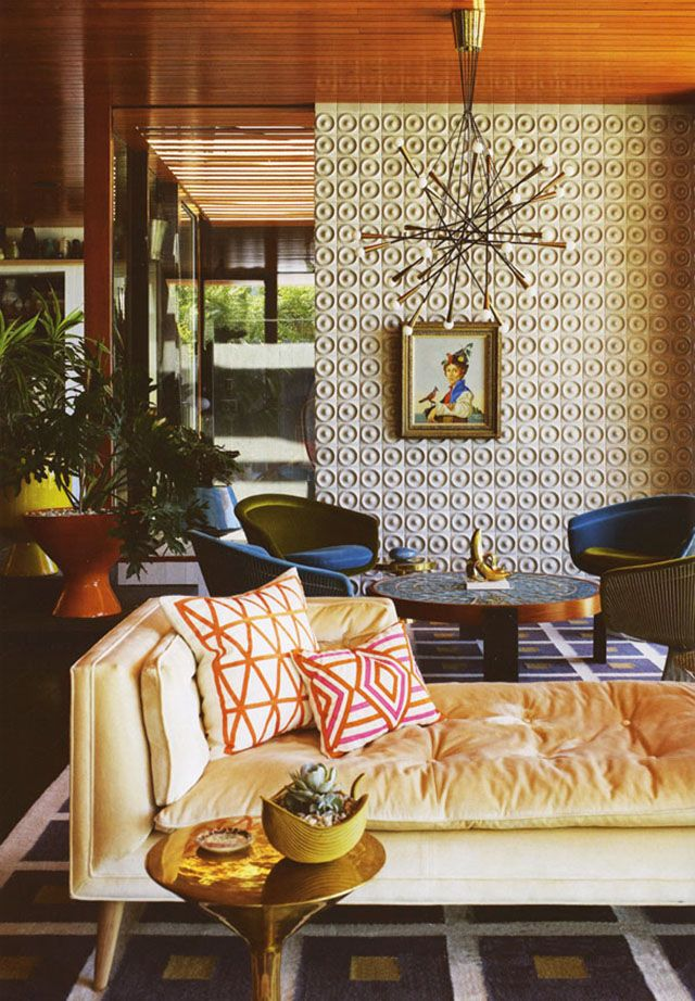 Living Room - Retro with textures, patterns and a warm colour palette.  Love the chosen elements & furnishings...totally charming.