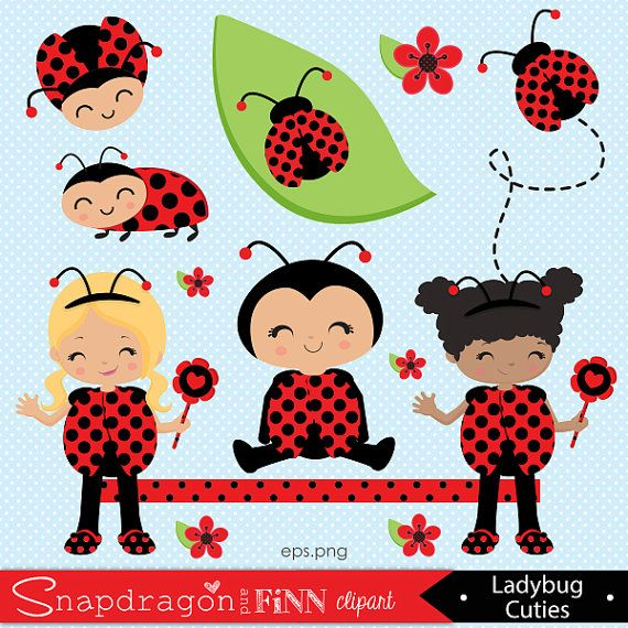Ladybug clipart, Cute Ladybug Girl clipart, Cute Bug clipart, Ladybug baby, Ladybug frame, Commercial License Included