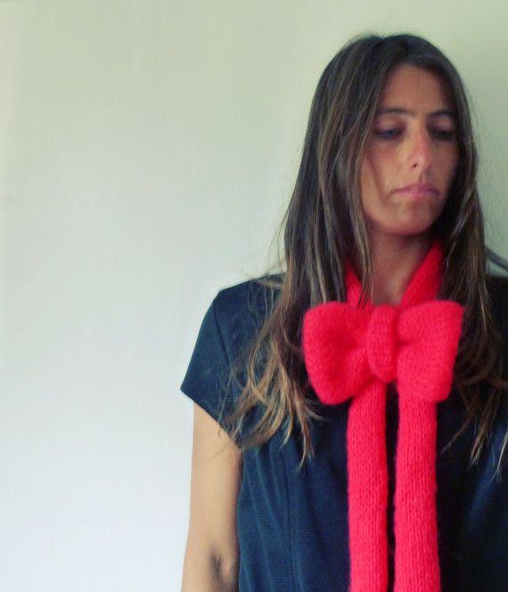 FUN: Cowl Scarf Knit Pattern Bow neckwarmer PDF - Knitting Pattern - Woman Fashion Winter Accessory DIY