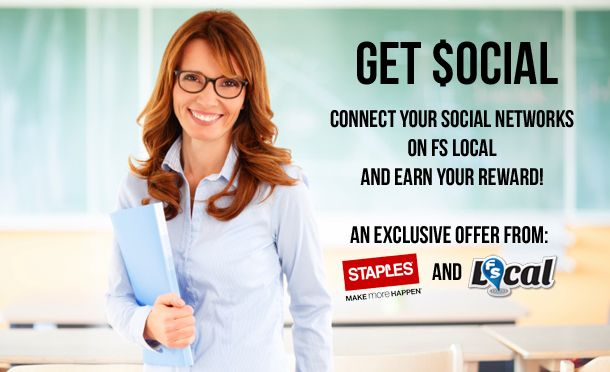We've teamed up with Staples to offer an exclusive coupon for FSL users who connect a social network. $25 off your next order of $100 or more at Staples.ca! - Read more: http://www.fslocal.com/blog/get-social-exclusive-offer-staples-connect-social-network/