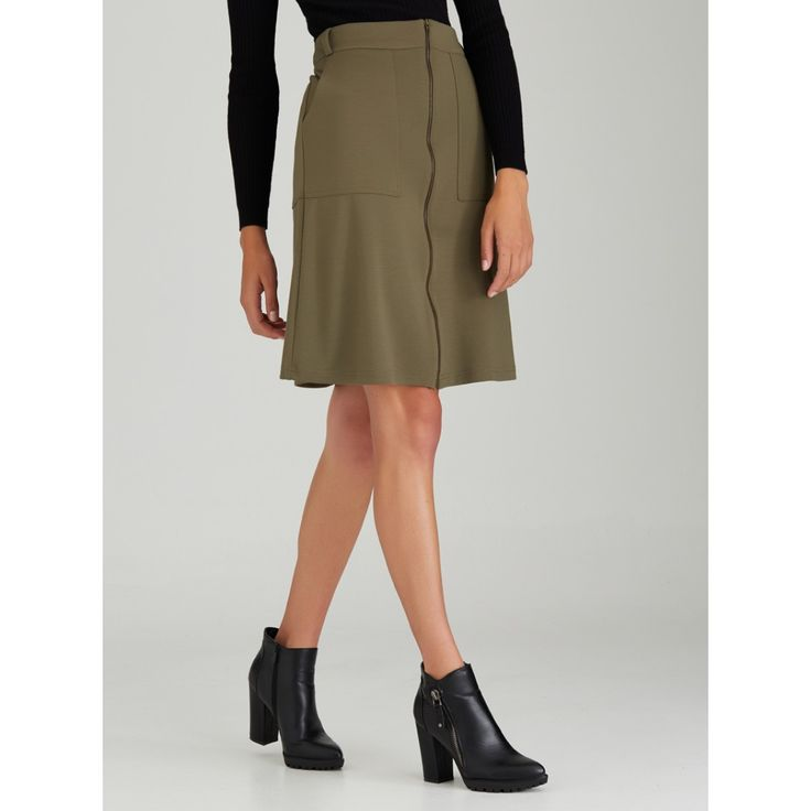 Zip A-line Midi Skirt Khaki Green