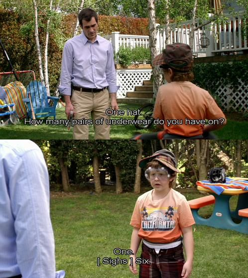 """hahaha one of the funniest moments of modern family...scheduling to """"shoot"""" luke"""