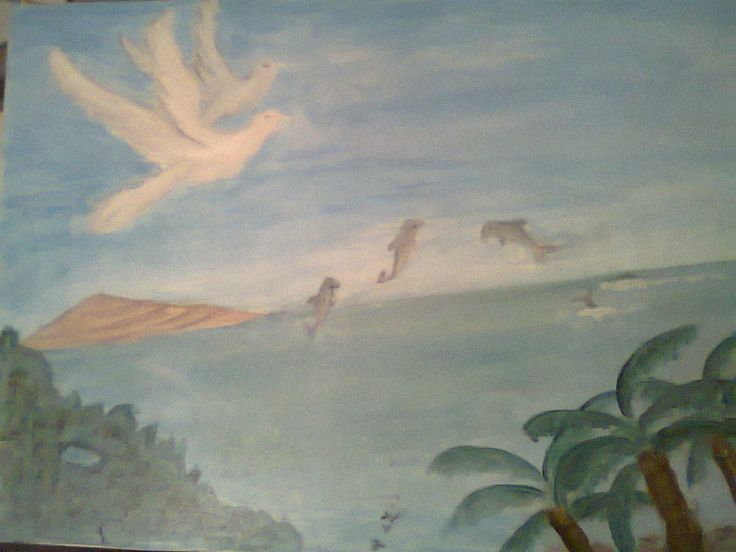 I made this acrylic painting as a symbol of my family. The two white birds in the sky symbol our parents watching the three dolphin kids that play happily at the sea surface.