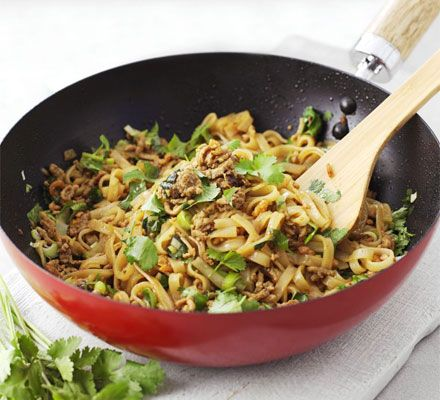Minced soy pork with rice noodles - I'll be making this without the mushrooms and shrimps!