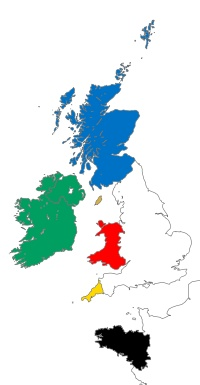 The Six Celtic Nations: Ireland, Scotland, Isle of Man, Wales, Cornwall, and Brittany.
