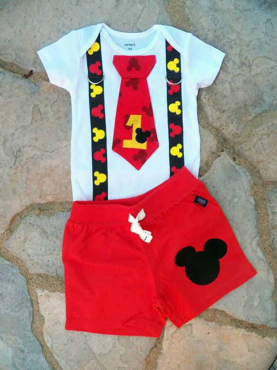 Mickey Mouse Birthday Tie and Suspender Onesie with Shorts for Baby Boy First Birthday Disney Clothing Birthday Party Little Man Tie Outfit