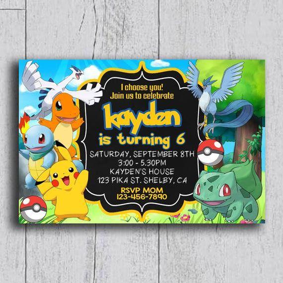Pokemon Invitation Pokemon Birthday Invitation Pokemon Birthday