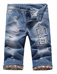 Hombre Chic de Calle Tiro Medio strenchy Vaqueros Shorts Pantalones,Delgado