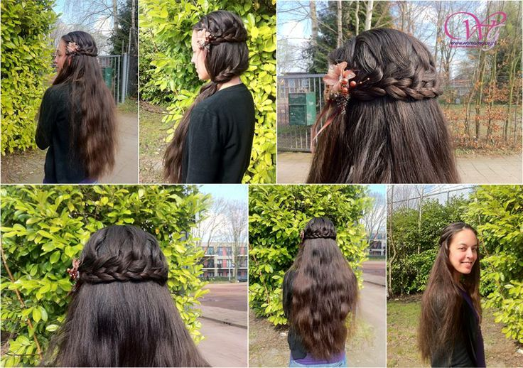 Een combi van een geknoopte #vlecht met een normale vlecht. Het lijkt op een haarband versiert met een bloemetje ernaast. #Hairstyle #Hairstyles