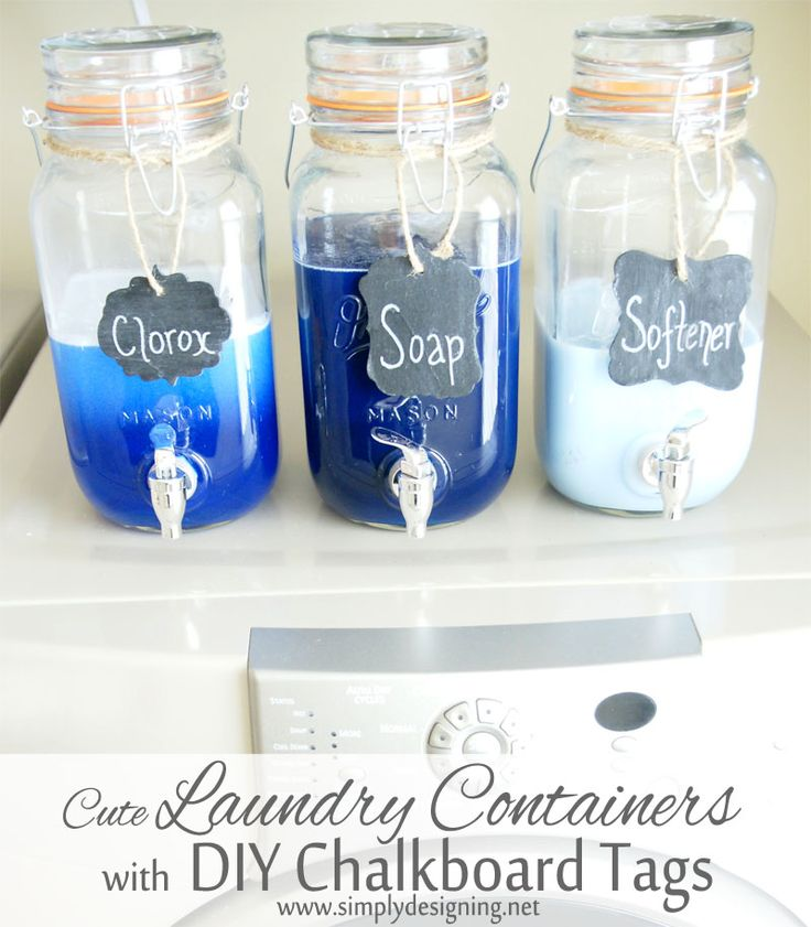 Cute Laundry Room Organization: Mason Jar Laundry Soap Containers with DIY Chalkboard Tags