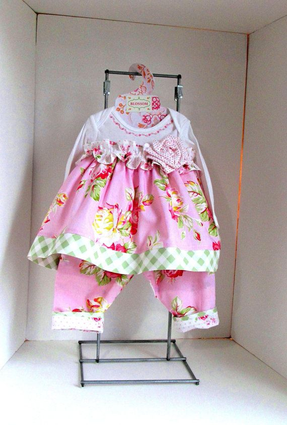 Baby girl clothes 6mo- 2pc shabby chic dress with ...