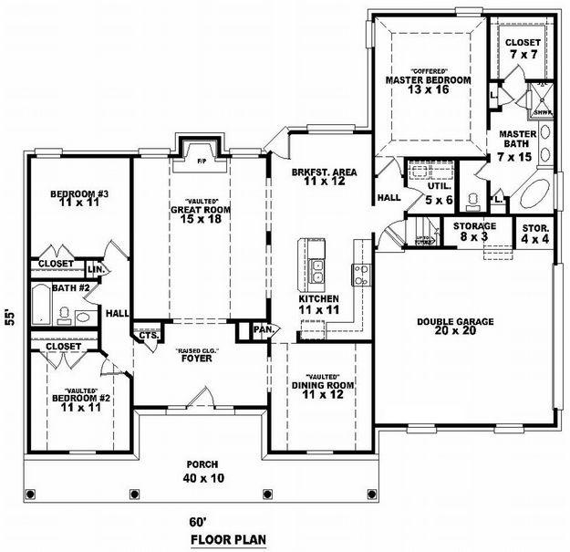 house plan 053 00858 southern plan 1825 square feet 3 bedrooms 2 bathrooms