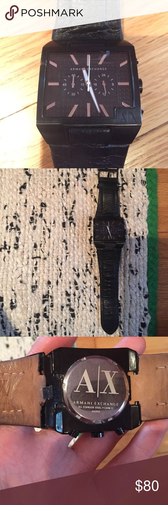 Armani Exchange Mens Watch Black watch. Leather. Stainless steel. Battery replaced recently. See pic 3 leather back a bit broken also some scratches on the glass. Good used condition. Works great. 100% original. No box. A/X Armani Exchange Accessories Watches