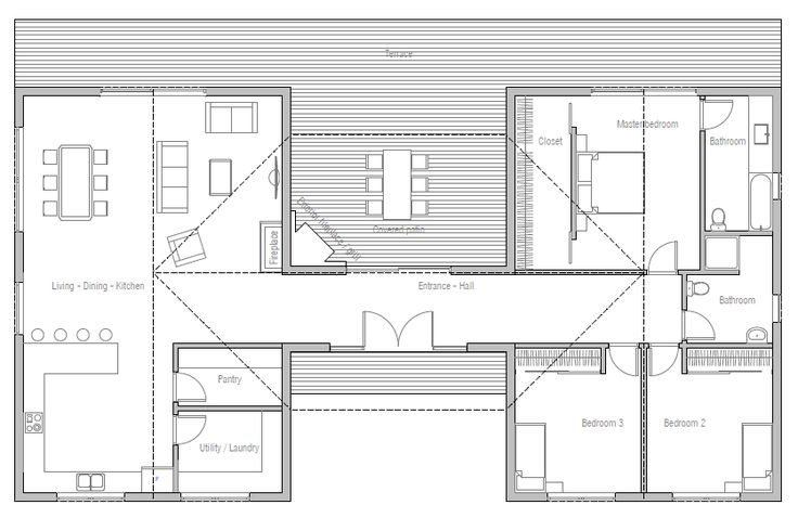 Container home design based on a 6 container (40ft) compartmentalized house with an outstanding exterior living space.