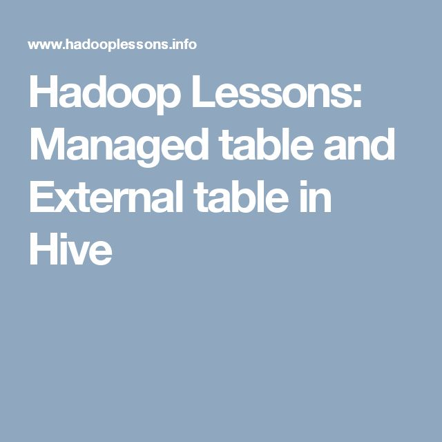 Hadoop Lessons: Managed table and External table in Hive