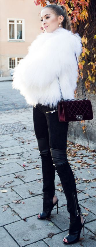 Red Velvet Shoulder Bag Black Heeled Booties Black Leather Pants White Faux Fur Jacket Fall Street Style Inspo by Kenzas