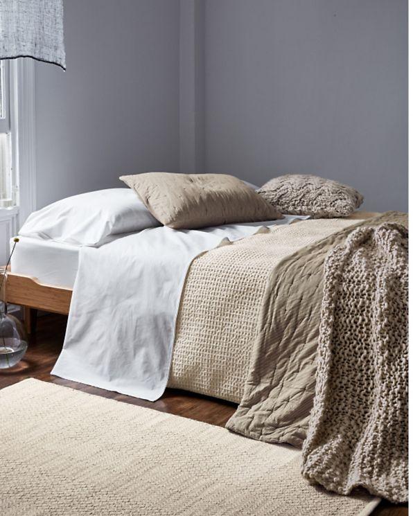 Beautiful Eileen Fisher Pinstripe Organic Cotton Quilt And Sham