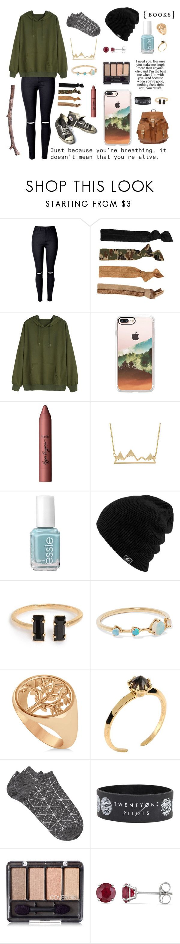 """Down in the Forest"" by lydiaschley ❤ liked on Polyvore featuring WithChic, Glam Bands, Casetify, tarte, Essie, WWAKE, Allurez, Converse, Katie Rowland and Witchery"