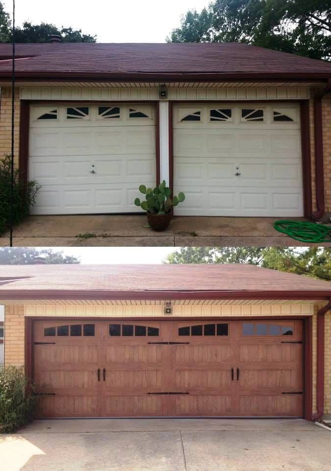 What a difference a new C.H.I. garage door makes. Pictured is a model 5983 in Accents light oak with 2-piece arched madison windows. Find more accents at www.chiohd.com