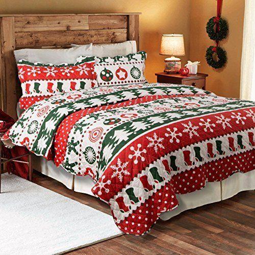 Bedding Christmas Snow Flake Quilt Coverlet Set Bedspread Full Queen 3 Pcs Decor #Bedsure