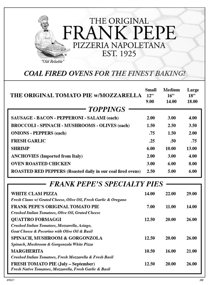Pepe's Pizza New Haven Menu page 1