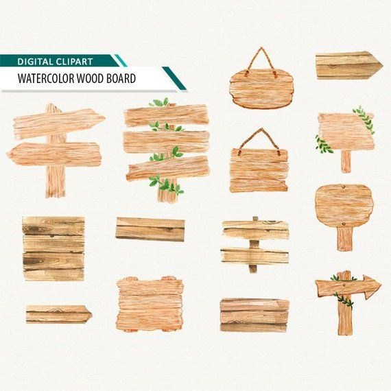 Wooden Signs Wood Board Watercolor Clipart Wood Planks