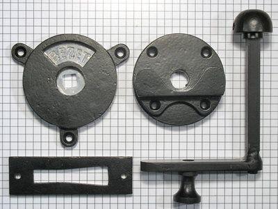 WC-deursluiting, hefboom, ijzer zwart (vrij/bezet)