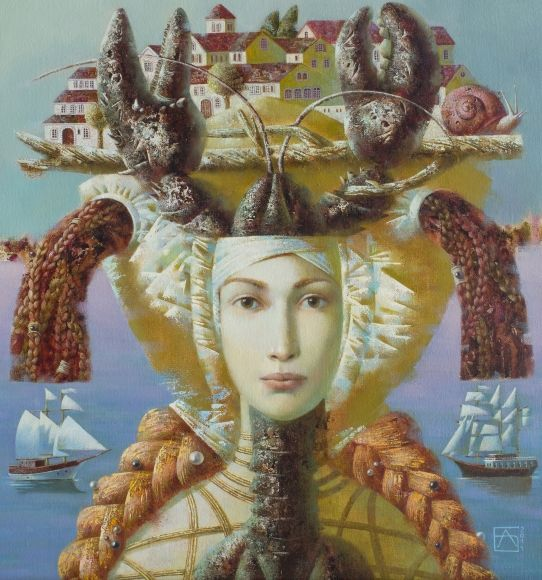 Lady with Lobster 80 x 70 cm Oil on canvas