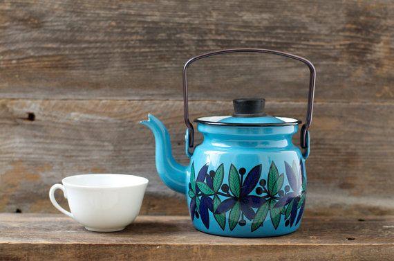 Vintage Finel turquoise enamel tea pot, Arabia Finland
