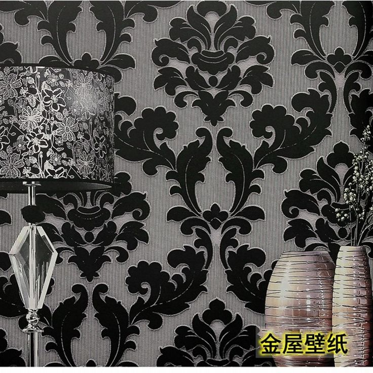 104.25$  Watch here - http://alij8g.worldwells.pw/go.php?t=32694159370 - papel de parede upscale European Damascus flocked retro black and white stylish living room TV backdrop bedroom wallpaper TV