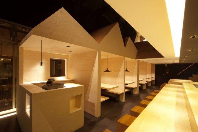 """Restaurant Interior Design in London 2014 - reminiscent of the """"house"""" shape trend happening now!"""