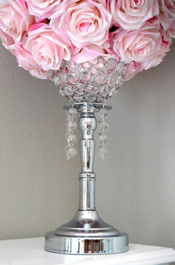 Silver bling rhinestone flower ball stand or candle holder