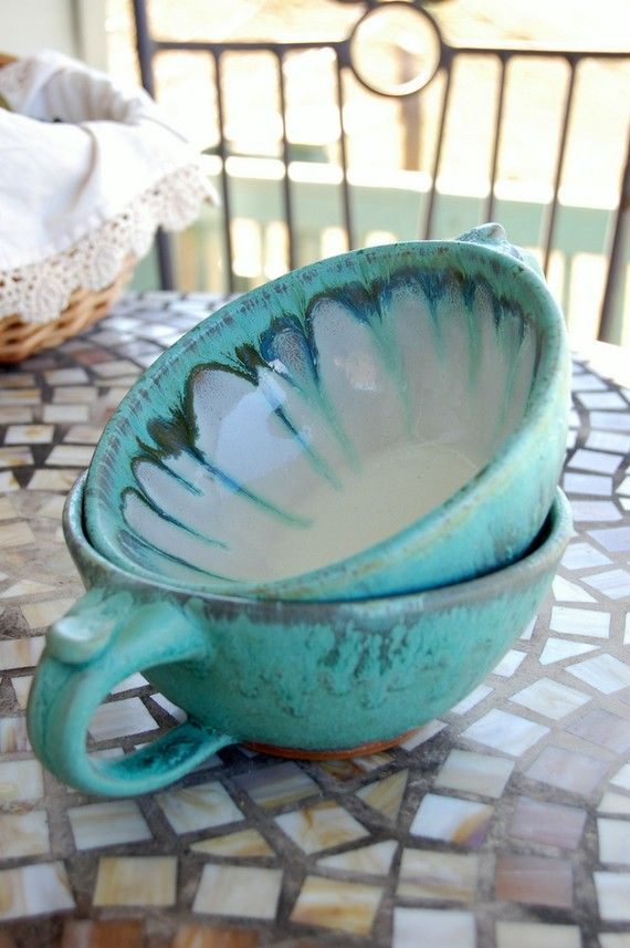 Two Cappuccino Cups or Soup Bowls In Turquoise- Made to Order