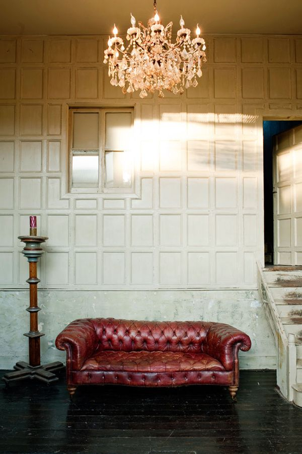 B L O O D A N D C H A M P A G N E . C O M:Locations Agency, Red Chesterfield Sofas, Buildings Ideas, Leather Couch, Interiors, Comfy Couch, Dining Spaces, Vintage Inspiration, Design
