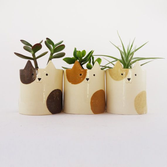 Cat Plant Pot Kitty Planter with Cream Patches by MinkyMooCeramics