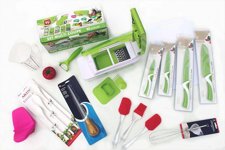 KIT DE CUISINE LE GRAND CHEF 69€ - Le Grand Chef Kit de Cuisine - Mandoline (Set Multi Coupe) et Éplucheur, Couteaux en Céramique, Cruche de Mesure, Timer, Cuisine Gants, Cuisine Injector, Fouet, Spatules et Pinceau, Cuillères à Mélanger et Tableau. Different (not eligible) colors for knives, spatulas and brush, kitchen glove and timer (the latter also not eligible different shapes: tomato, apple, lemon or pear). - à http://www.amazon.fr/gp/aag/main?seller=A1QPL980FAHTMT