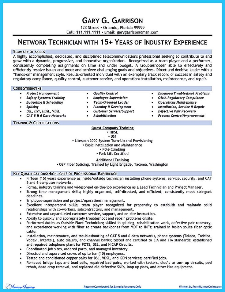 nice How to Make Cable Technician Resume That Is Really