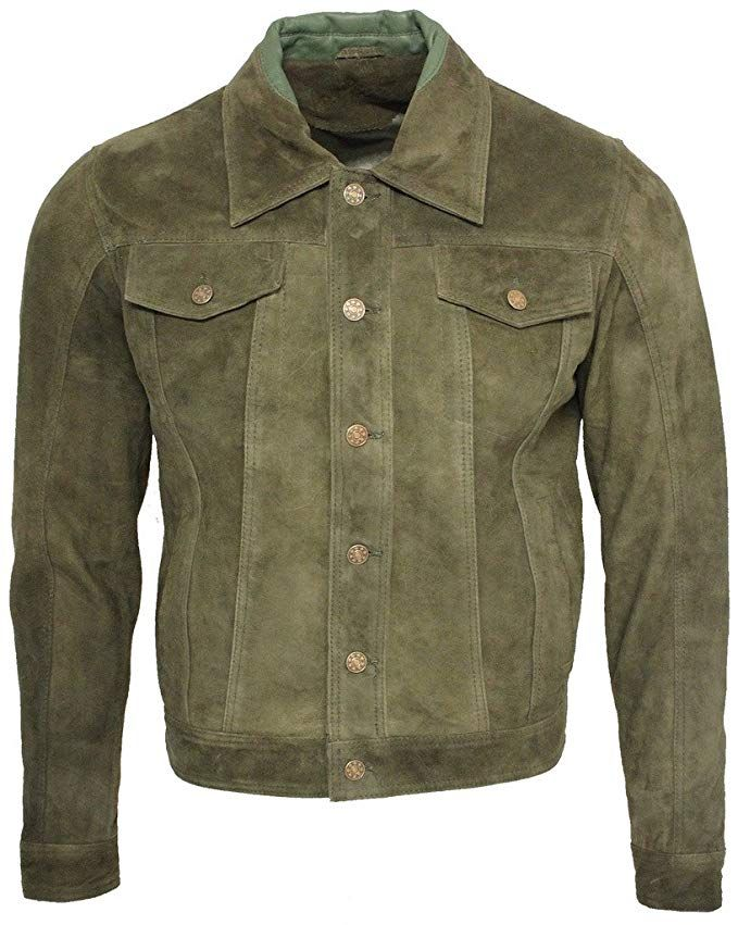 Men/'s /'TRUCKER/' Suede Leather Jacket BrownREAL LEATHER CLASSIC STYLE 1280