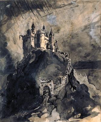 Victor Hugo 1847. Château fort sur une colline. Plume et lavis, 17,3 x 14,3 [MNHAL, prêt des AMVHV]. Dessin de Victor Hugo réalisé en 1847.