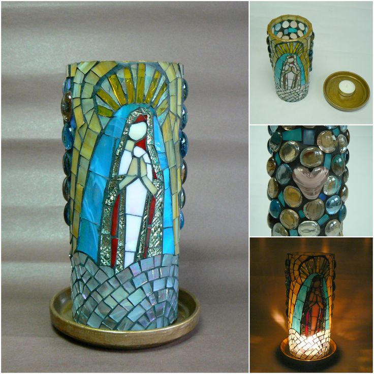 Handmade candle holder by Lucano Mosaico.