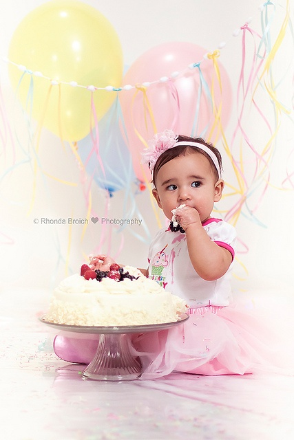 """""""smash the cake""""; baby; birthday love the curly ribbon hanging down."""