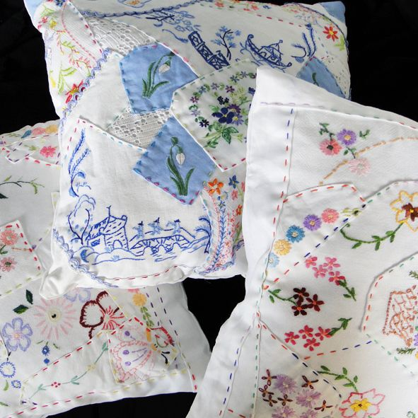 Hand Embroidered Patchwork Cushions from Paradis Terrestre - Quality Greeting Cards, Gifts, Hand Knits, Luxury Christmas ...